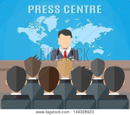 Press conference, world live tv news, interview. journalists on seats. vector illustration in flat style on blue background with world map