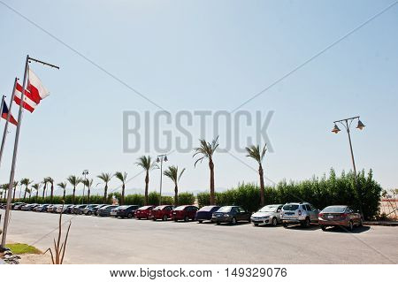 Hurghada, Egypt -20 August 2016: Car Parking Near Resort Hotel At Egypt