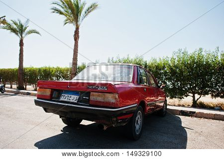Hurghada, Egypt -20 August 2016: Peugeot 505 Gt Car With Egypt License Plate