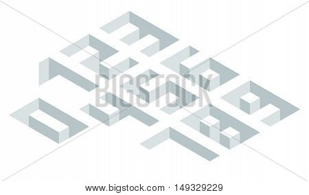 Set of isometric numbers on white illustration