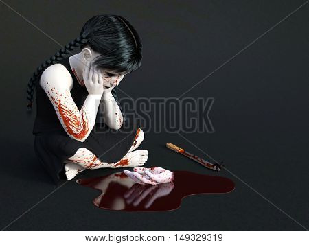 3D rendering of an evil gothic looking blood covered small girl sitting on the floor with a severed hand in a puddle of blood in front of her. Dark gray background.