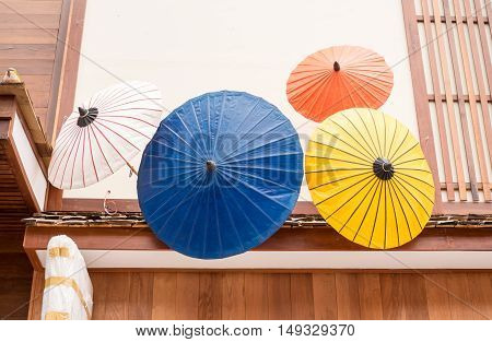 Colorful Japanese umbrella use to decoration infront of shop