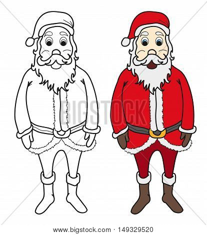 Santa claus for colouring book vector illustration