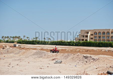 Hurghada, Egypt -20 August 2016: Motorcycle Safari Rider In The Land Egypt.
