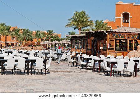 Hurghada, Egypt -20 August 2016: Arabian Cafe Restaurant  In Luxury Hotel Resort Caribbean World Som