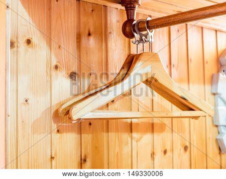 coat hanger in wooden room interior decoration