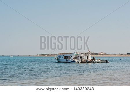 Hurghada, Egypt -20 August 2016: Small Boats On Red Sea Near Resort