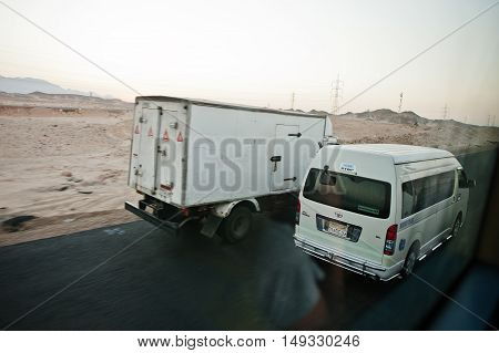 Hurghada, Egypt -20 August 2016: Moving On Highway Egyptian Cars And Bus