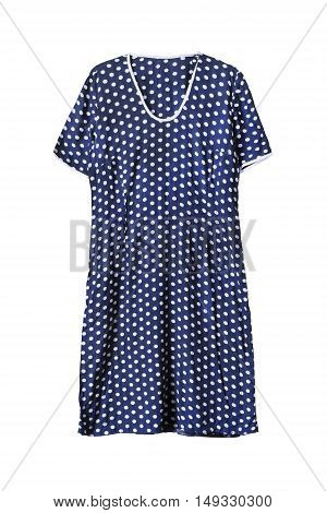 Polka dots blue dress isolated over white