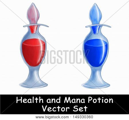 Health and Mana potion vector illustration game set