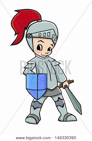 knight cartoon boy vector illustration soldier boy