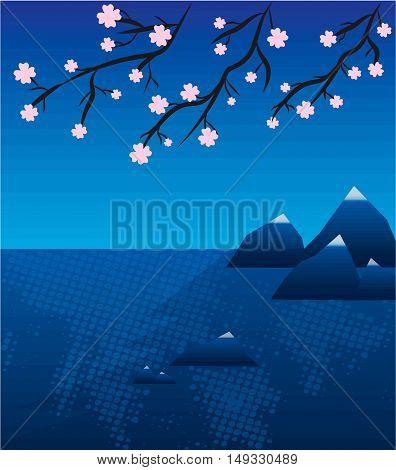 Lake landscape with sakura in japan vector illustration