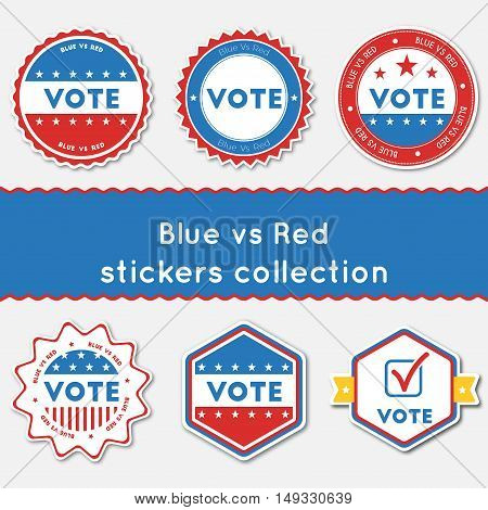 Blue Vs Red Stickers Collection. Buttons Set For Usa Presidential Elections 2016. Collection Of Blue