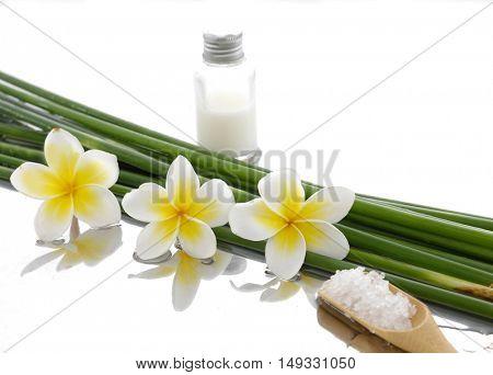 Three frangipani with bamboo grove, salt in spoon