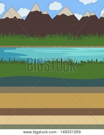 Nature layer ground vector illustration set water