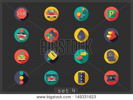 Set of sixteen flat auto icons on black background