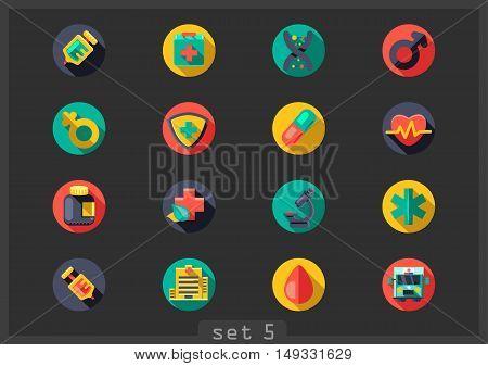 Set of sixteen flat medical icons on black background