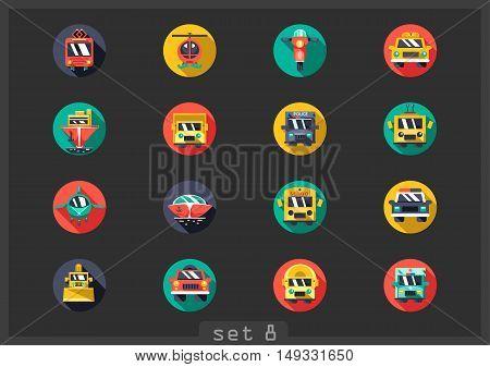 Set of sixteen flat transport icons on black background