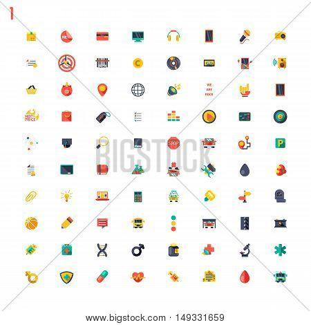 Big set of colourful flat icons on white background
