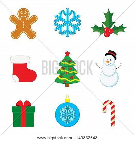 Vector collection of Christmas and New Year icons.