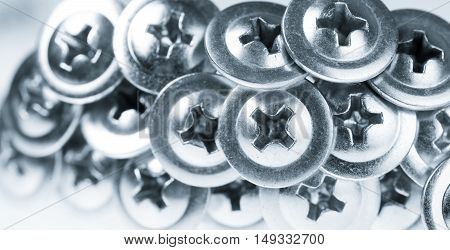 Many Silver Screw Heads Toned Grey