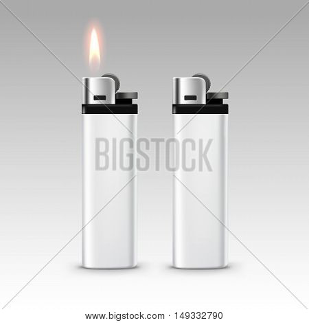 Vector Blank White Plastic Lighters with Flame Close up Isolated on White Background