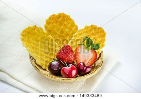 Fresh Berries Fruit And Waffles
