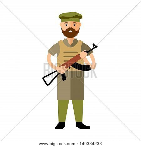 Afghan military man with a gun. Isolated on a white background