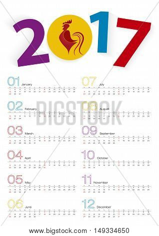 Calendar 2017 The Year of the Rooster two weeks line. Week starts from Sunday. Vector Illustration.