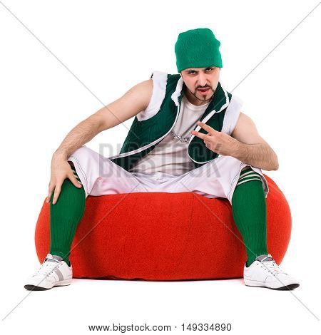 Young performe dressed like a funny gnomeposing , isolated on white in full length
