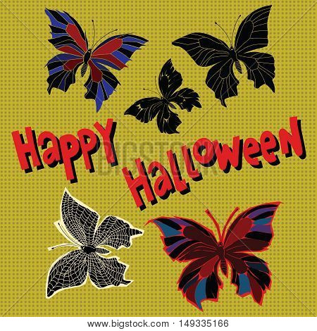 Happy Halloween set night butterflies dead, pop art retro vector illustration
