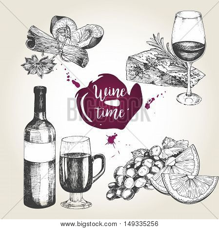Vector set of wine and appetizers. Bottle glass cheese rosemary orange grape cinnamon sticks anise plum. Vintage engraved style. Use for season restaurant menu design store holiday