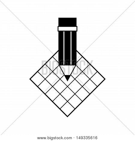 Pencil icon with notepad sheet.  Vector illustration.