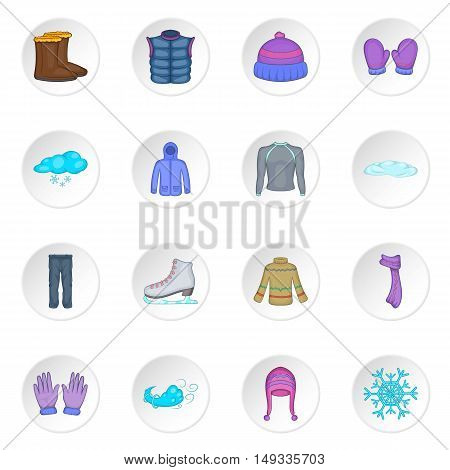 Winter clothes icons set in cartoon style. Clothes and accessories for skating set collection vector illustration