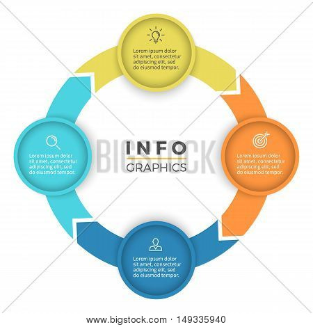 Four steps infographics. Diagram with 4 parts. Vector design element.