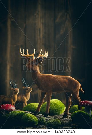 Autumn decoration with reindeer