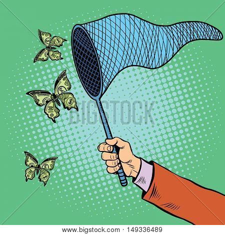 Businessman catching money with a butterfly net, pop art retro vector illustration. Business and Finance, the concept of hunting for revenues and profits