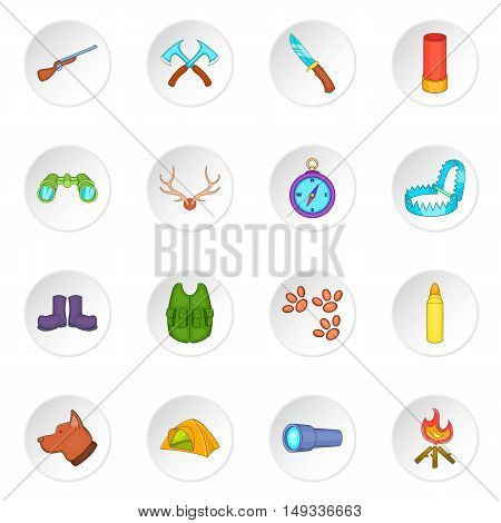 Hunting icons set in cartoon style. Hunters equipment set collection vector illustration