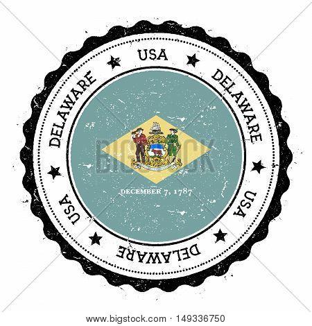 Delaware Flag Badge. Grunge Rubber Stamp With Delaware Flag. Vintage Travel Stamp With Circular Text