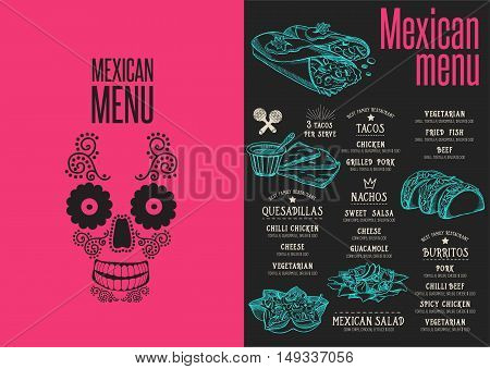Mexican menu placemat food restaurant brochure template design. Vintage creative dinner flyer with hand-drawn graphic.