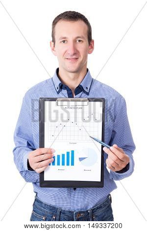 Middle Aged Businessman Presenting His Business Plan On Clipboard Isolated On White