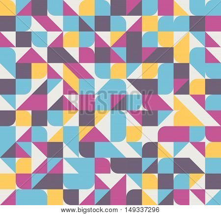 Vector seamless square triangle circle geometric pattern, pink, blue and yellow colors