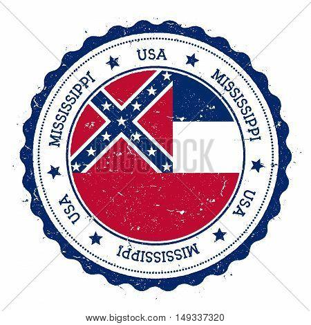 Mississippi Flag Badge. Grunge Rubber Stamp With Mississippi Flag. Vintage Travel Stamp With Circula