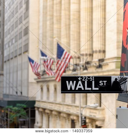Wall street sign and New York Stock Exchange on Circa June, 2016 in New York, USA