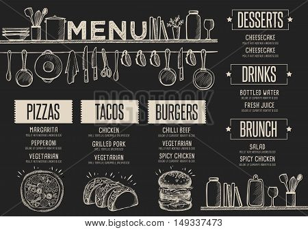 Cafe menu food placemat brochure restaurant template design. Creative vintage brunch flyer with hand-drawn graphic.