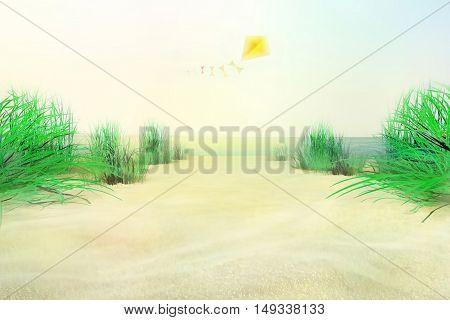 On the sea shore. Kite flying.3D illustration