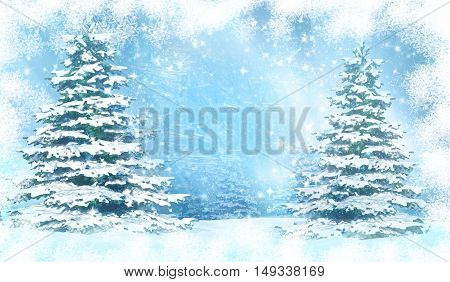 Christmas background with snowy fir trees. 3D illustration