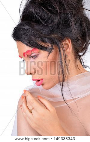 beautiful young fashion sensual women portrait with painting makeup