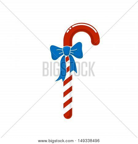 Christmas Red Striped Candy Cane with Blue Bow on White Background,