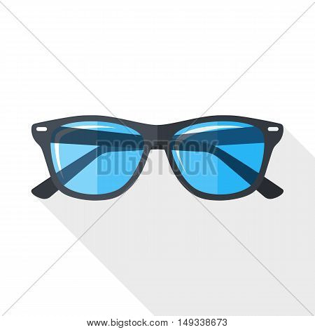 Vector Glasses Simple Icon In Flat Style With Long Shadow On White Background